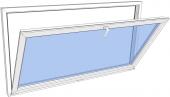 Vindu bunnhengslet PVC 490x490 2-lag glass pr stk