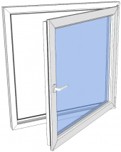 Vindu drei og vipp høyre PVC 990x990 2-lag glass pr stk