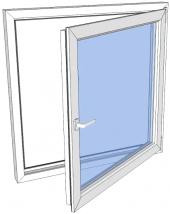 Vindu drei og vipp venstre PVC 1090x590 2-lag glass pr stk