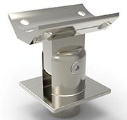 Toppfeste for stolpe 40x40 firkant justerbart håndrekke Ø50 pr stk