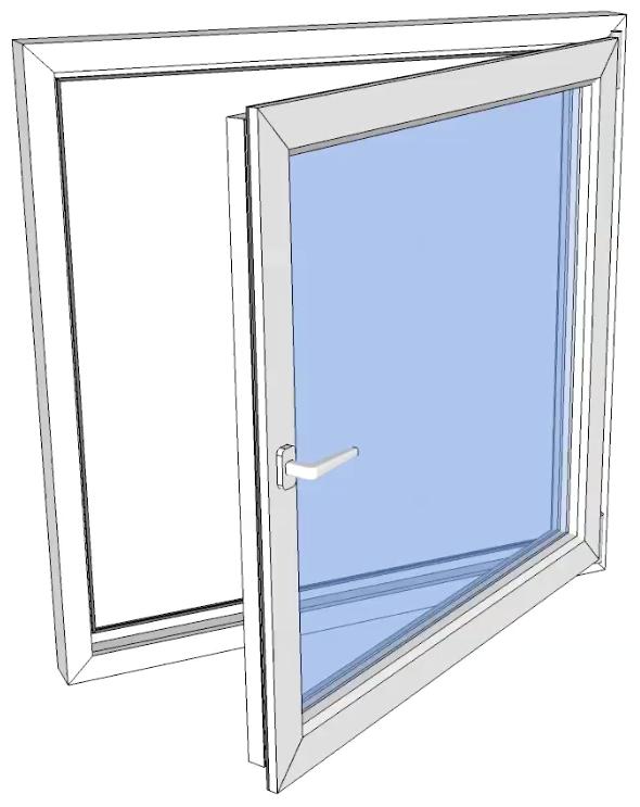 Vindu drei og vipp høyre PVC 490x1190 2-lag glass pr stk