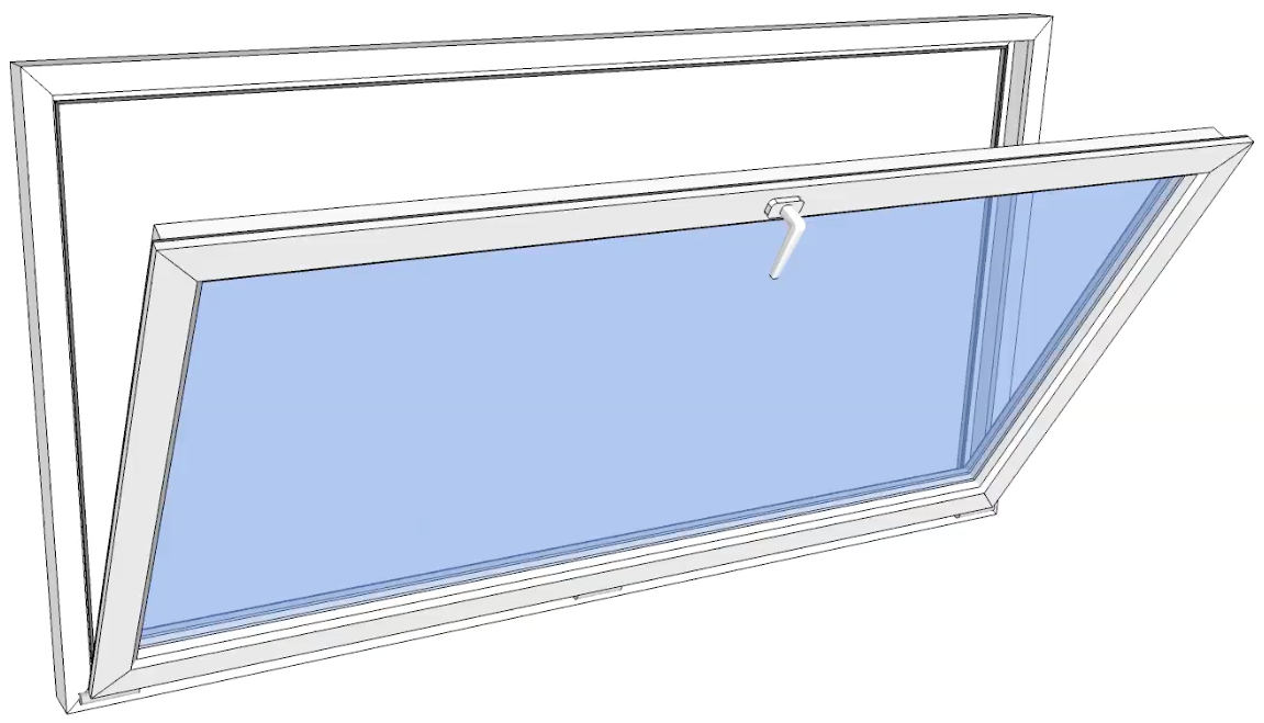 Vindu bunnhengslet PVC 1090x590 pr stk