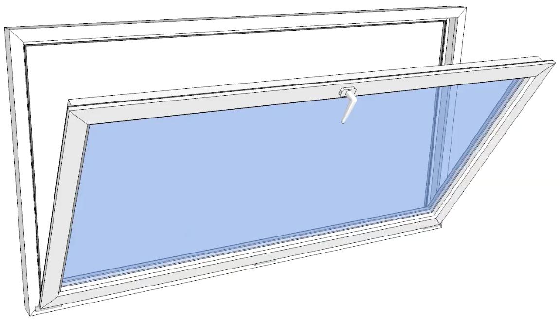 Vindu bunnhengslet PVC 1190x590 2-lag glass pr stk