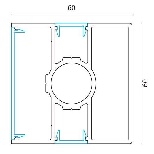 Stolpe midtstolpe for F60, F60 Louver og F60V pr meter