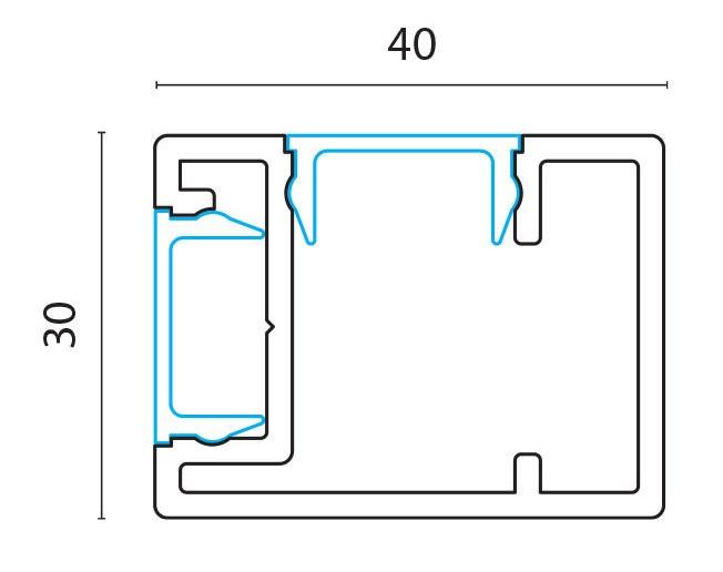 Sideprofil adapter for F40 og F76 pr meter