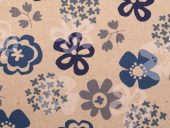 retro bomull- lin, blå blomster