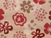 retro bommull-lin røde-beige blomster