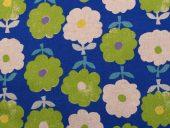 lin/bomull blått m blomster