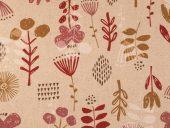 lin/bomull naturfarget med burgunder/gammelrosa blomster