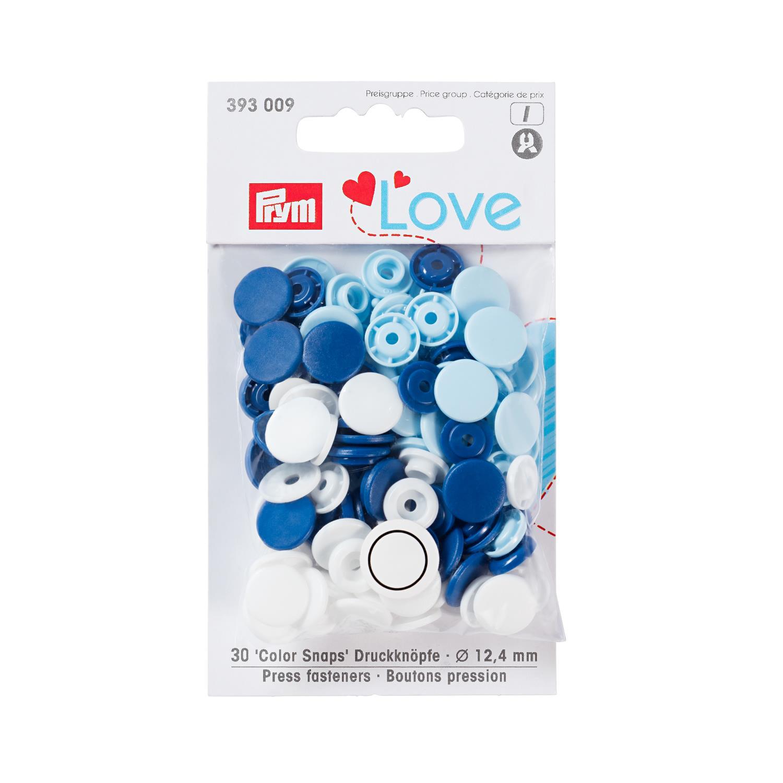 Ass. lys blå/ hvite trykk knapper