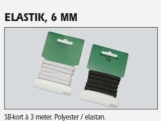 Hvit elastikk 6mm