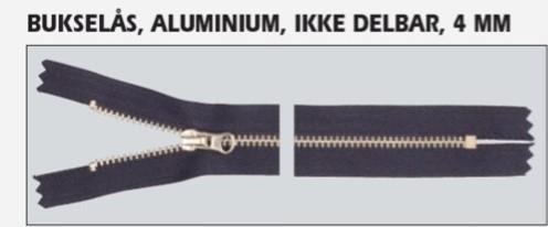 15 cm glidelås metall
