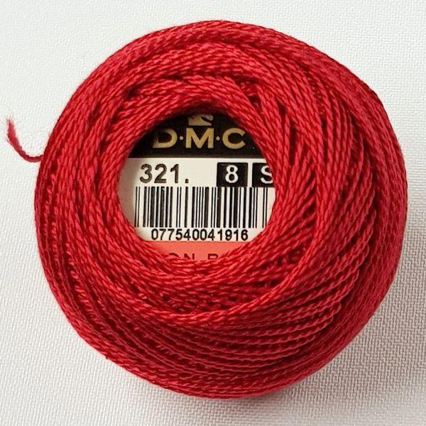 DMC perlegarn nr 8 rød 321