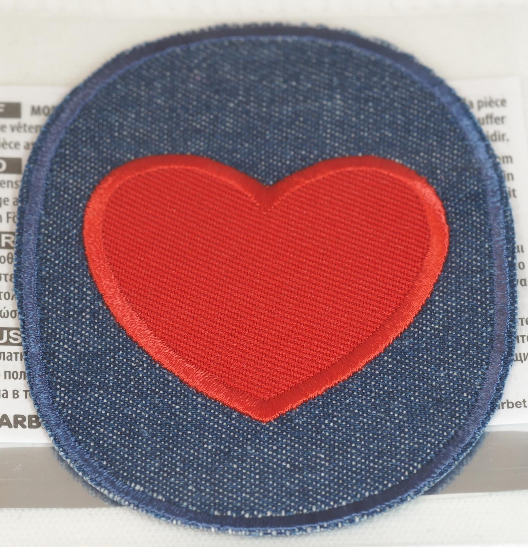 jeanslapp med hjerte