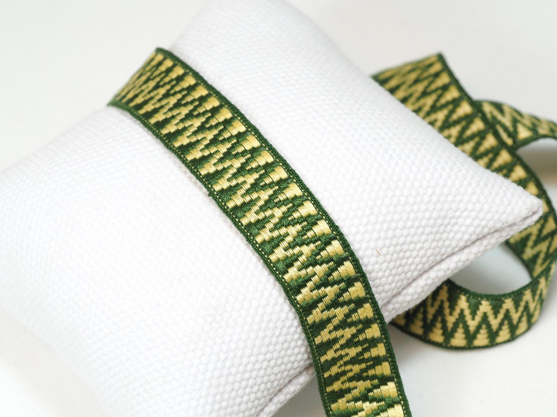 Krokbragd gul/grønn Hardanger band