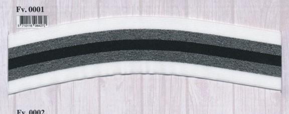Elastikk hvit-grå-sort stripet