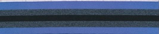 Elastikk blå-grå sortstripet