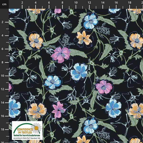 Jersey, blomster på sort bunn