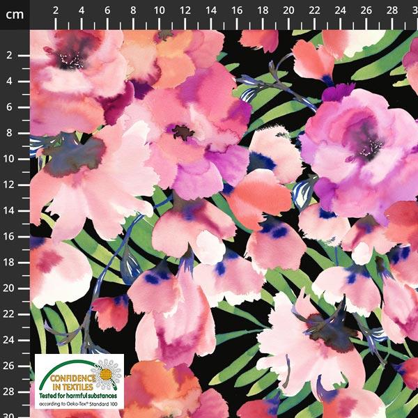 Jersey blomster på sort bunn