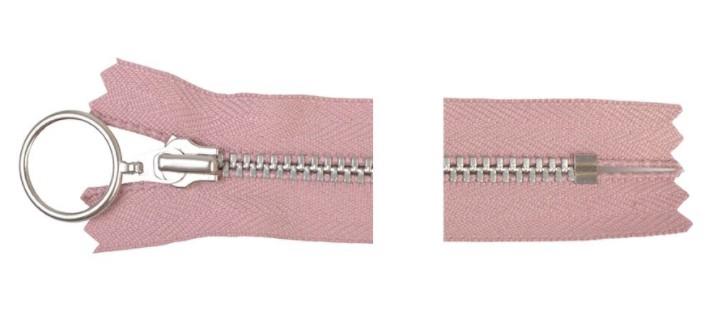 YKK Glidelås Aluminium Fast m/Ring 25cm 4mm Rosa