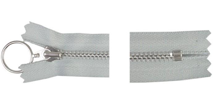 YKK Glidelås Aluminium Fast m/Ring 25cm 4mm Lysegrå