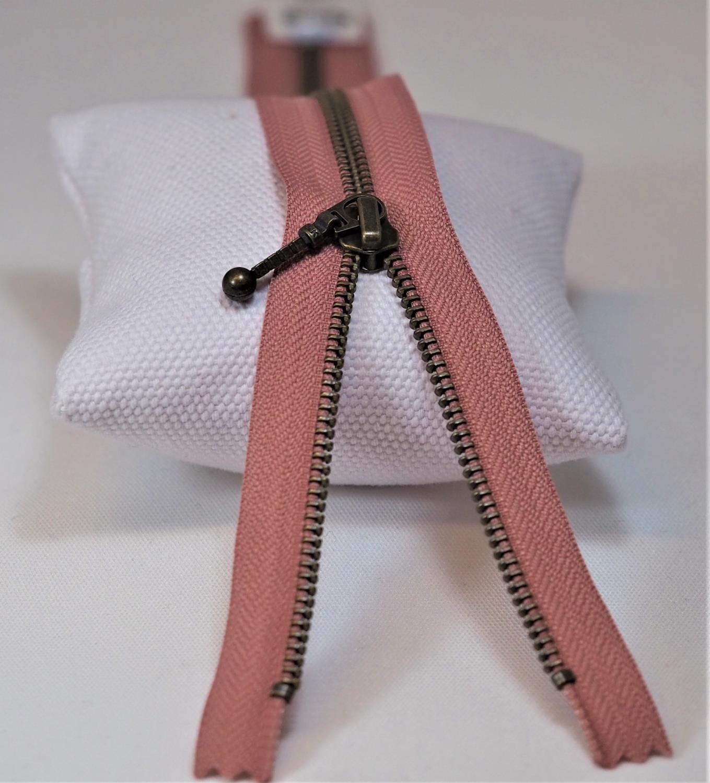 Glidelås 35 cm metall lukket rosa