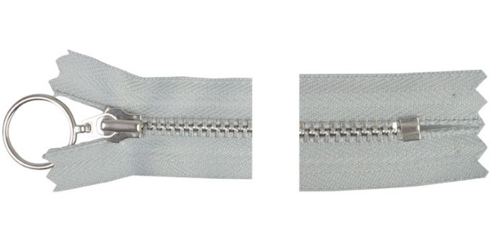 Metall glidelås 30 cm lys grå