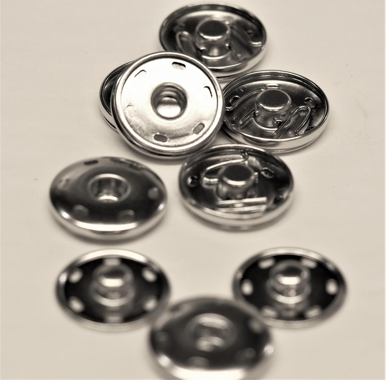 25mm Trykk knapp sølvfarget
