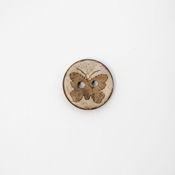 Knapp i kokos med sommerfugl 13mm