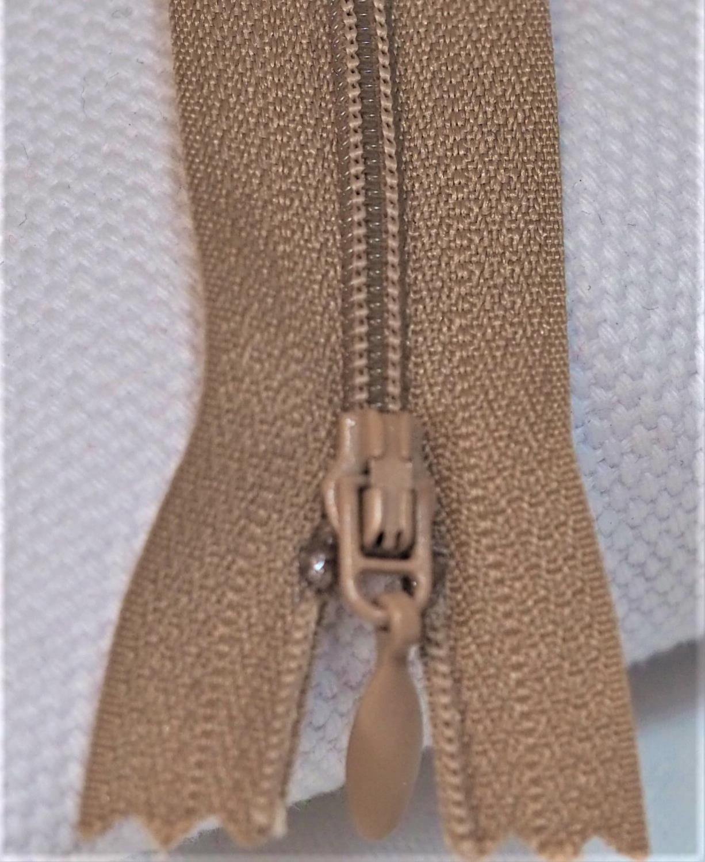 Glidelås,4mm,Beige 25cm