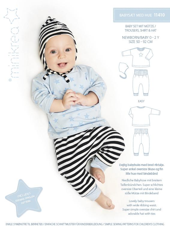Minikrea: Babysett med lue str 0-2 år