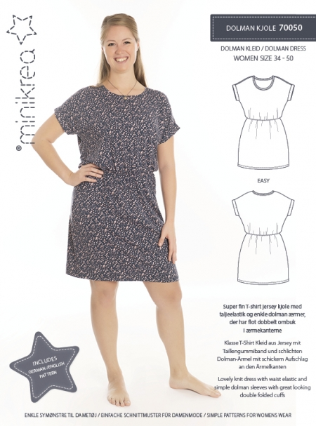 Minikrea: dolman dress, str. 34-50