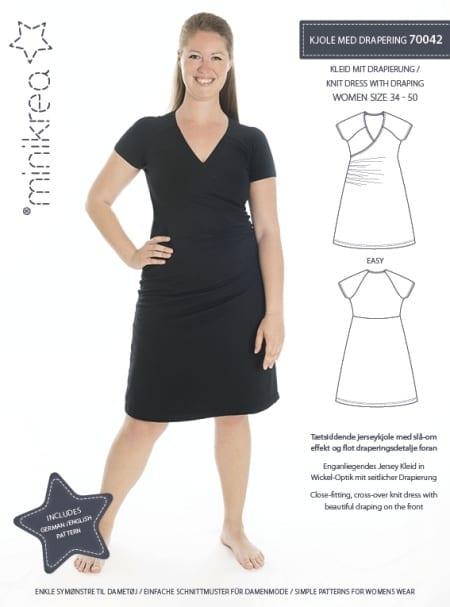 Minikrea-kjole m/drapering