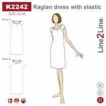 Raglan kjole med elastikk-fast