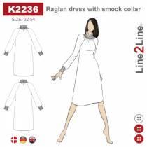 Raglan kjole med smock krave