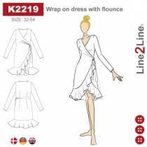 Slå om kjole med volang-fast stoff