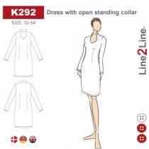 Kjole med åpen ståkrage -strekk