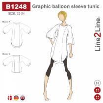 Tunika med grafiske ballonærmer