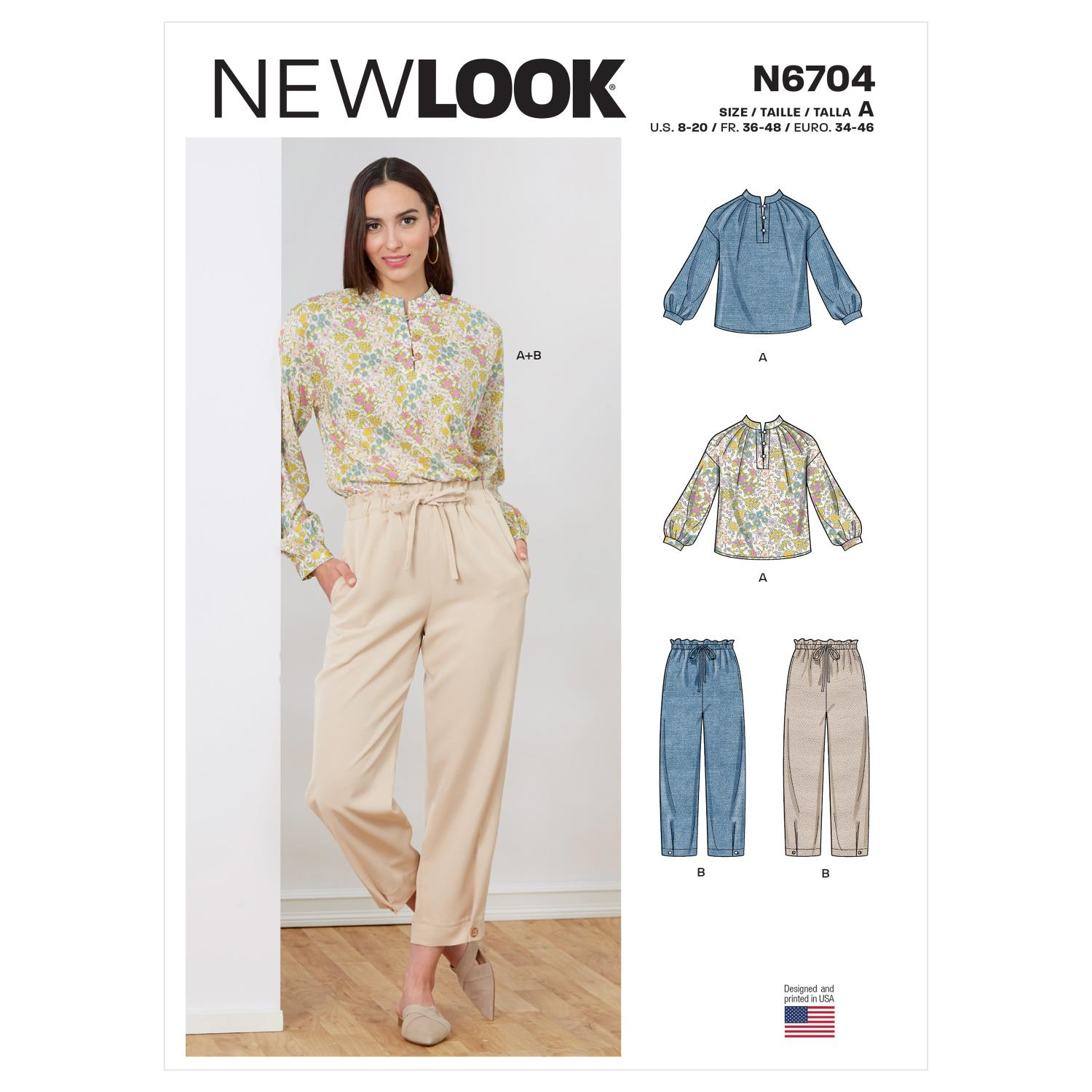 New Look Sewing Pattern N6704 Misses' Top and Pull-On Pant