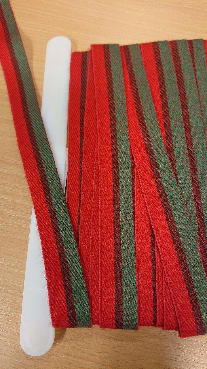 Juledukband røde og grønne 2cm bredde