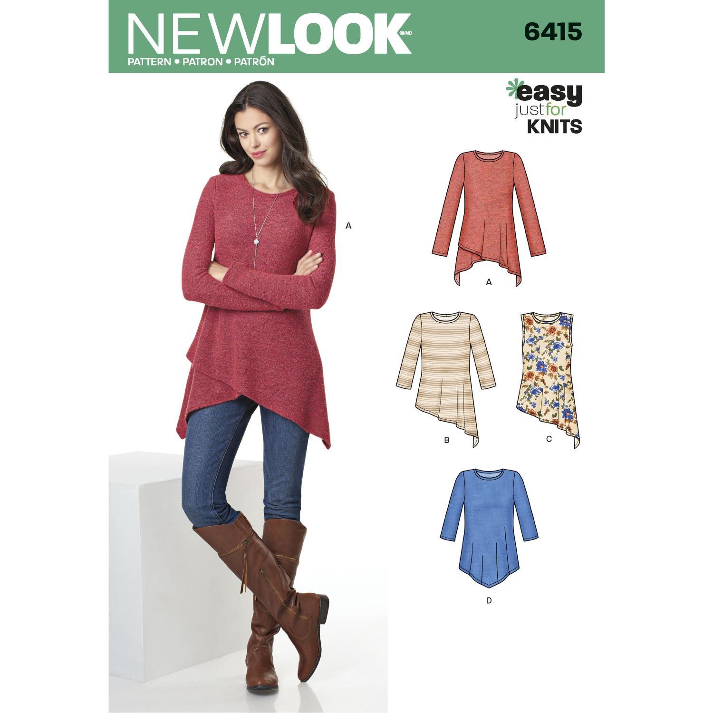 New Look Pattern 6415 Misses' Knit Tunics