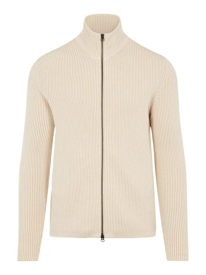 Karl Ribbed Zipped Cardigan