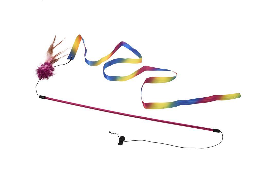 Drillepinne 46cm med regnbuevimpel Rød