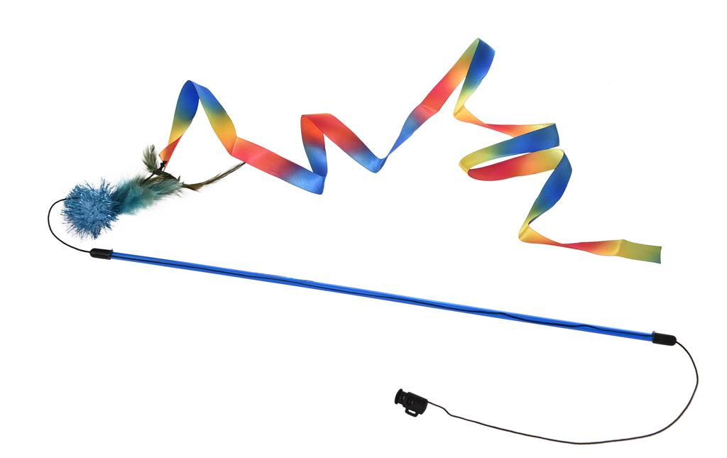 Drillepinne 46cm med regnbuevimpel Blå