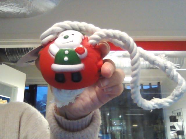 Julekule i vinyl, med rep
