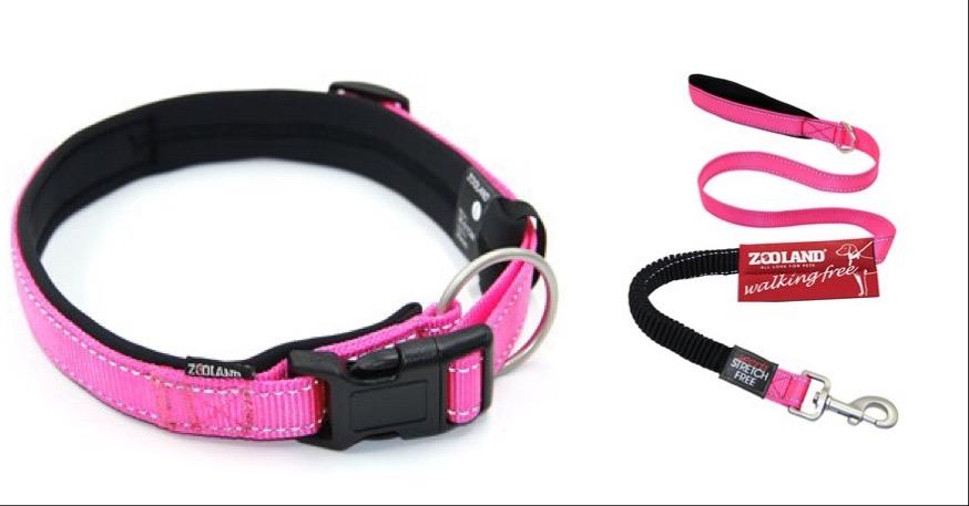 Zooland Halsbånd+Kobbel Pink L