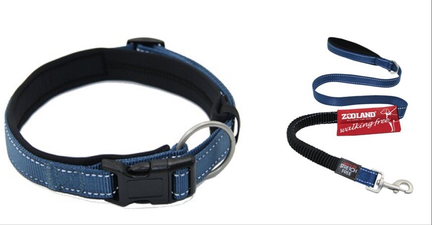 Zooland Halsbånd+Kobbel Blå L