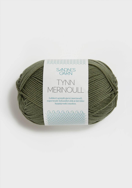 TYNN MERINOULL støvet mosegrønn 9551