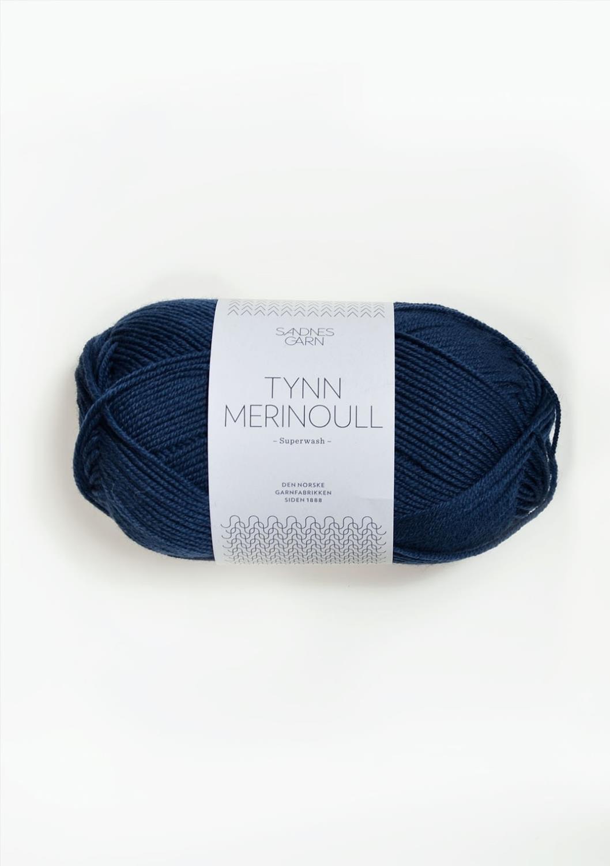 Tynn merinoull, mørk blå 6062
