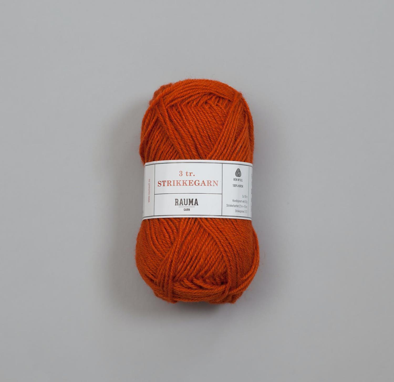 3-TRÅDS STRIKKEGARN Mørk Oransje 177